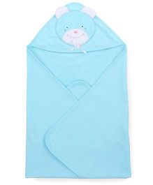 Child World Solid Color Teddy Patch Hooded Towel - Sky Blue