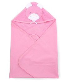 Child World Solid Color Teddy Patch Hooded Towel - Pink