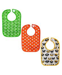 Meukebaby Bibs Animal Print Pack of 3 - White Orange Green