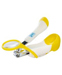 Mee Mee Gentle Nail Clipper With Magnifier - White & Yellow