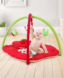 Babyhug Play Gym With Apple Cut & Mosquito Net - Red