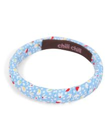 De Berry Flower Print Wrist Band - Cyan Blue