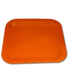 Partymanao Sqaure Paper Plate Orange - Pack Of 10