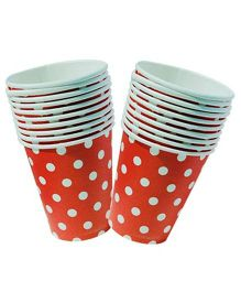 Partymanao Polka Dotted Cup Red - Pack Of 10