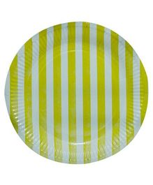 Partymanao Striped Party Paper Plates Yellow - Pack of 10