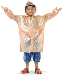Babyhug Full Sleeves Raincoat Candy Heart Patch - Peach