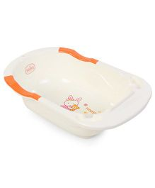 Babyhug Bath Tub Happy Print - White & Orange