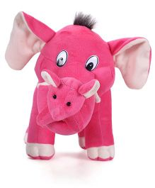 Tickles Mother Elephant Plush Toy With Single Baby Pink - 32 cm