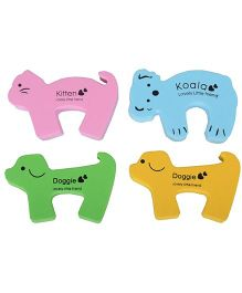 Kuhu Creation Animal Shape Door Guard Pink Blue Green Yellow - Pack of 4