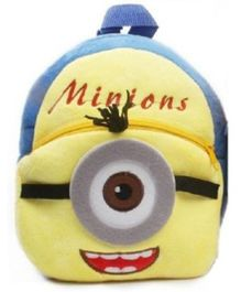 Kuhu Creation Plush Backpack Single Eye Minion Design Yellow Blue - 9 inches