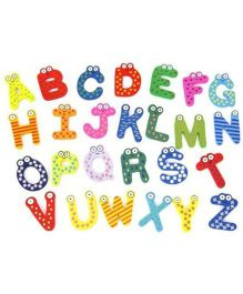 Kuhu Creation Wooden Alphabet Magnet Sticker Multi Color - 26 Pieces