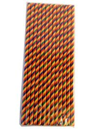 Funcart Paper Straws Diagonal Print Orange - 25 Pieces