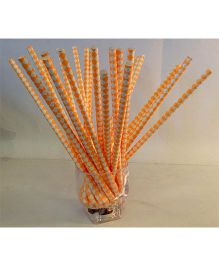 Funcart Paper Straws White Diamond Print Orange - 25 Pieces
