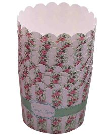 Funcart Green Floral Cupcake Wrappers - Pack Of 10