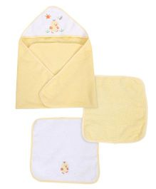 Spasilk Bird Print Hooded Towel & Wash Cloths - Yellow