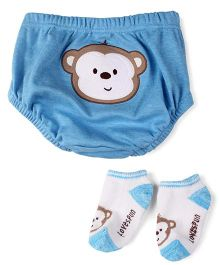 Lovespun Monkey Print Diaper Pant & Socks - Blue