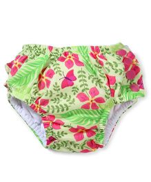 I play Flower Print Diaper Pant - Lime Green