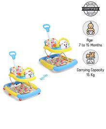 Babyhug Mini Steps Walker Cum Rocker With Parent Push Handle & 2 Level Height Adjustment - Yellow & Blue