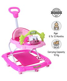 Babyhug Tiny Trotter Musical Walker With Parent Push Handle & 2 Level Height Adjustment - Pink