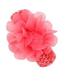 Bellazaara Chiffon Flower With Elastic Crochet Headband - Pink