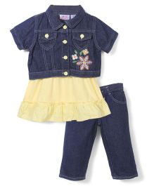 Young Hearts Flower Print Top, Pant & Jacket Set - Yellow & Blue