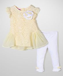 Nannette Floral Print Dress & Legging Set - White & Yellow