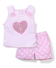 Nannette Love Print Top & Shorts Set - White & Pink