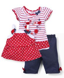 Nannette Dress Top & Shorts Set - White & Red