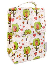 Sugar Booger Owl Print Classic Lunch Sack  - White