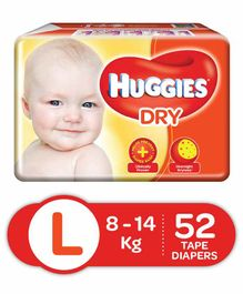 Huggies Dry Taped Diapers Large - 52 Pieces