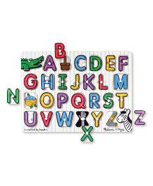 Melissa And Doug Wooden Alphabet Peg Puzzle Multicolor - 26