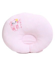 TomTom Joyful Baby Check Pillow Cat Print - Pink
