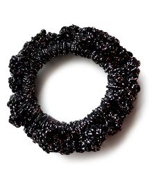 Pretty Ponytails Hand Crochet Scrunchie - Black & Silver