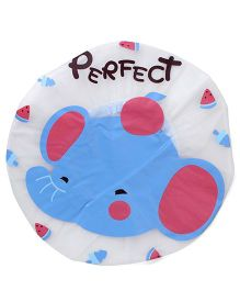 Adore Baby Shower Cap Cartoon Perfect Print - White & Blue