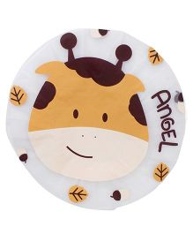 Adore Baby Shower Cap Cartoon Angel Print - White & Brown