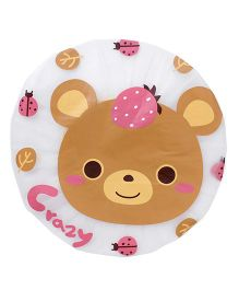 Adore Baby Shower Cap Cartoon Bear Face - White & Brown