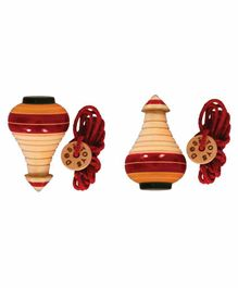 Desi Toys Khila Lattu Yellow And Maroon - Pack Of 2