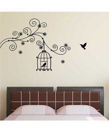 Chipakk Motif Branch With Bird Cage HD Wall Decal - Black
