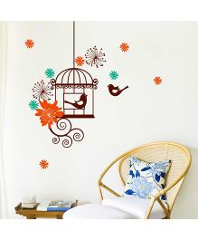 Chipakk Motif Flowers And Bird Cage HD Wall Decal - Green And Orange