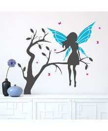 Chipakk Fairy On Branch With Wings HD Wall Decal - Blue