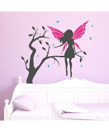 Chipakk Fairy On Branch With Wings HD Wall Decal - Pink