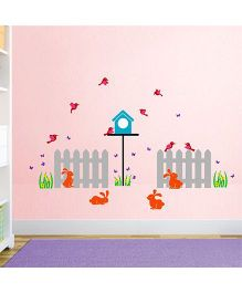Chipakk Fence and Rabbit HD Wall Decal - Multi Color