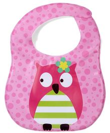 Ladybug Feeding Bib With Pocket Owl Design - Pink