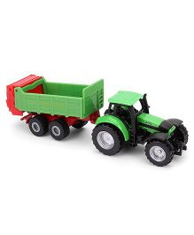 Siku Die Cast Free Wheel Tractor With Universal Manures Spreader - Green