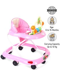 Babyhug Jolly Stroll Musical Walker With 4 Level Height Adjustment - Pink