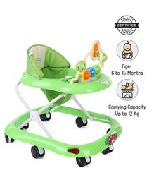 Babyhug Jolly Stroll Musical Walker With 4 Level Height Adjustment - Green