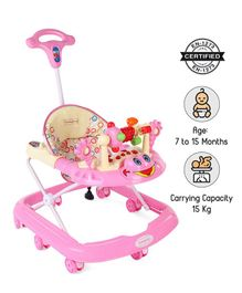 Babyhug First Walk Musical Walker With Parent Push Handle Safety Stopper & 4 Level Height Adjustment - Pink