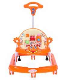 Babyhug First Walk Musical Walker With Parent Push Handle Safety Stopper & 4 Level Height Adjustment - Orange