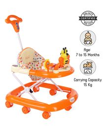 Babyhug Honey Bee Musical Walker With Parent Push Handle & 4 Level Height Adjustment - Orange