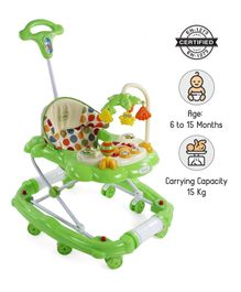 Babyhug Little Explorer Walker Cum Rocker with Parent Push Handle & 4 Level Height Adjustment - Green